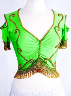 Belly dance lycra top - bright green and gold
