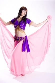 Belly dance lycra top - dark purple and gold