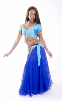 Belly dance lycra top - turquoise and gold