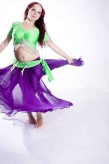 Belly dance lycra top - bright green and silver