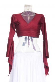 Belly dance lycra tie top - burgundy