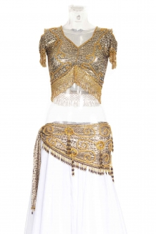Belly dance lycra top - Shiny Leopard and gold