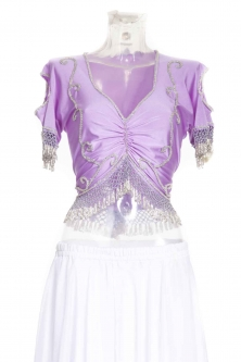 Belly dance lycra top - Lilac and silver