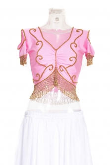 Belly dance lycra top - Medium shade of pink and gold