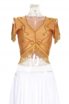Belly dance lycra top - Bronze and gold