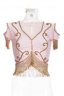 Belly dance lycra top - Baby pink and gold