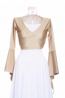 Belly dance lycra tie top - Light gold
