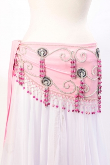 Belly dance belts for tops - Baby pink and silver