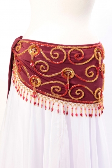 Belly dance belts for tops - Burgundy and gold