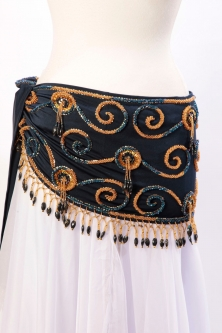 Belly dance belts for tops - Navy and gold