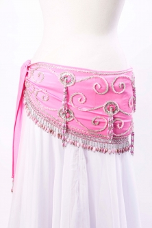 Belly dance belts for tops  - Pink (medium) and silver