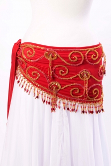 Belly dance belts for tops - Red and gold
