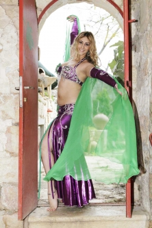 Belly dance plain chiffon veil - green
