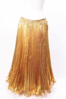 Pleated belly dance skirt - metallic gold