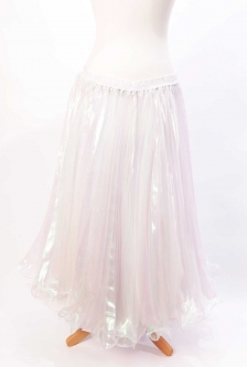 Pleated belly dance skirt - iridescent white