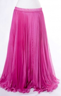 Belly dance pleated skirt - hot pink with iridescent glitter