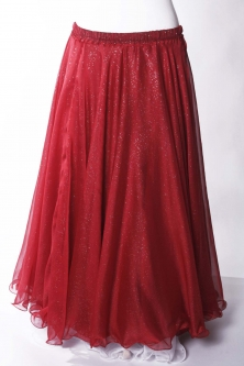 Belly dance printed skirt - red chiffon with iridescent glitter