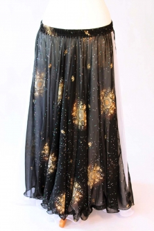 Belly dance printed skirt - black sparkle flowers