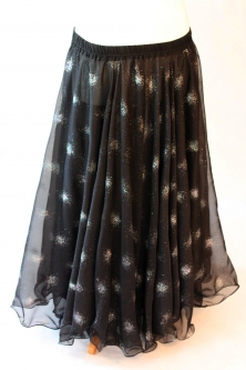 Belly dance printed skirt - black with glitter starbursts