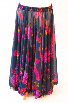 Belly dance printed skirt - gypsy style blue with pink flowers