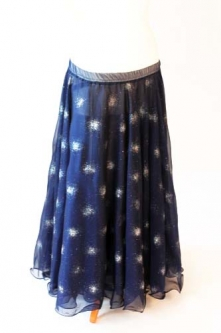 Belly dance printed skirt - navy with glitter starbursts