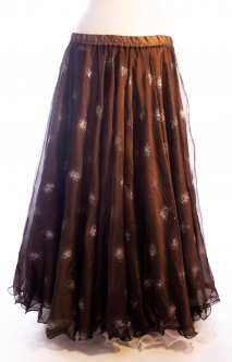 Belly dance printed skirt - chocolate with glitter starbursts