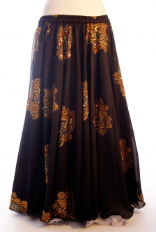 Belly dance printed skirt - black with gold flowers