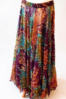 Belly dance printed skirt - purple with floral and leopard print