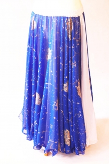 Belly dance printed skirt - blue with sparkles and flowers