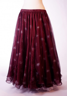 Belly dance printed skirt - maroon with glitter starbursts