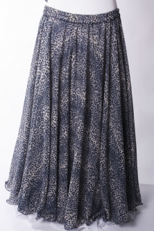 Belly dance printed skirt and veil - blue leopard hue