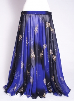 Belly dance printed skirt - black and blue magic