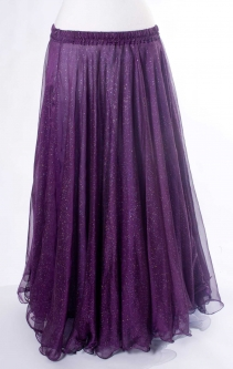Belly dance printed skirt - dark purple with iridescent glitter