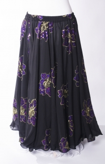 Belly dance printed skirt - black with purple sparkle flowers