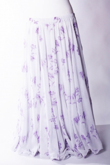 Belly dance printed skirt - white with purple flowers