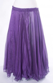 Belly dance printed skirt - purple with iridescent glitter