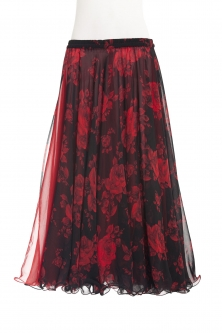 Belly dance printed skirt - red roses