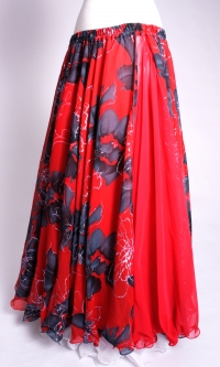 Belly dance printed skirt - romantic red