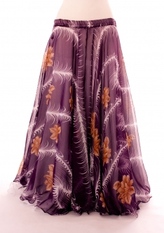 Belly dance printed skirt - purple feather fantasia