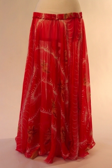 Belly dance printed skirt - red feather fantasia