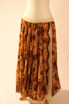 Belly dance printed skirt - soft caramel