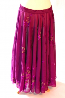 Belly dance printed skirt - purple indian look