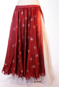 Belly dance printed skirt - deep red with glitter starbursts