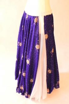 Belly dance printed skirt - royal blue sparkle flowers