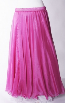 Belly dance printed skirt - pink chiffon with iridescent glitter