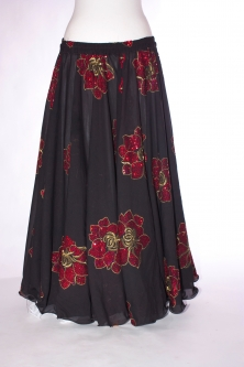 Belly dance printed skirt - black with red sparkle flowers