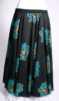 Belly dance printed skirt - black with turquoise flowers