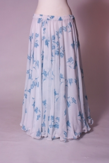 Belly dance printed skirt - white with blue lilies