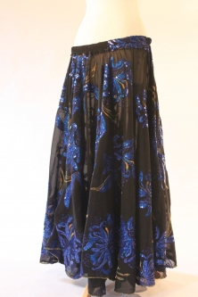 Belly dance printed skirt - black with royal blue flowers