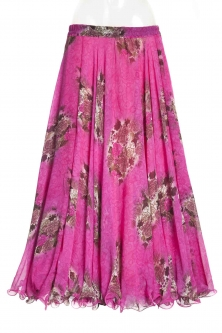 Belly dance printed skirt - pink bouquet